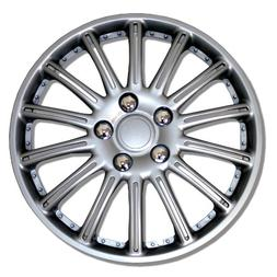 TuningPros WSC-007S15 Hubcaps Wheel Skin Cover 15-Inches Sil